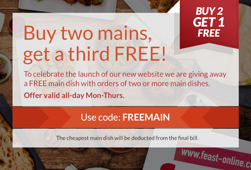 Buy two mains, get a third free!